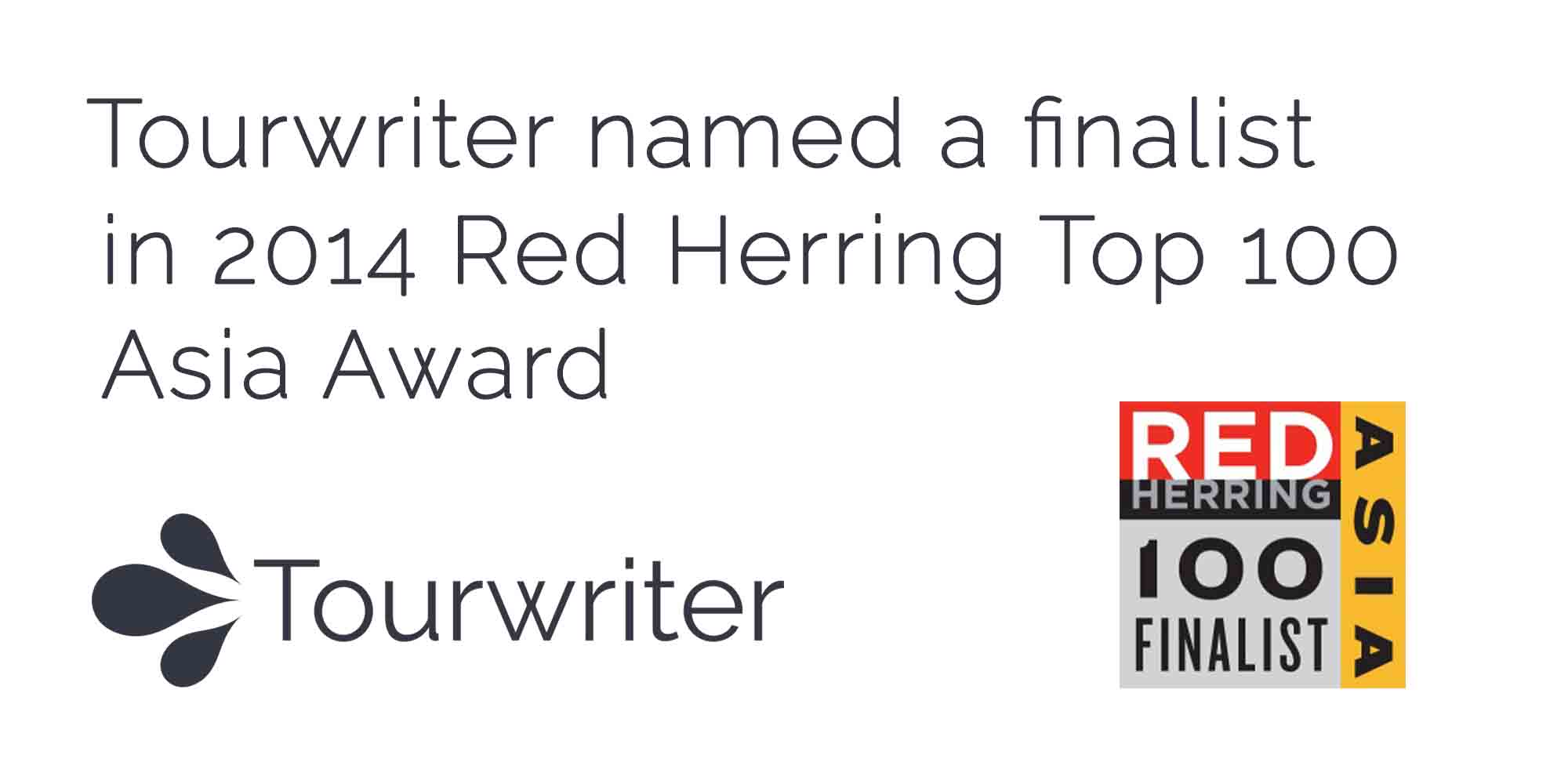 Tourwriter named a finalist in Red Herring's Top 100 Asia Award